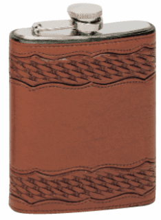 Vogt Leather Wrapped Flask Scalloped Basket Tooling