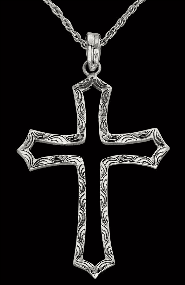 Vogt Open Center Engraved Cross Necklace