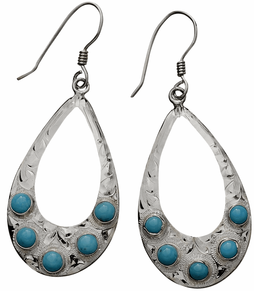 Vogt Sterling and Turquoise Teardrops Earrings