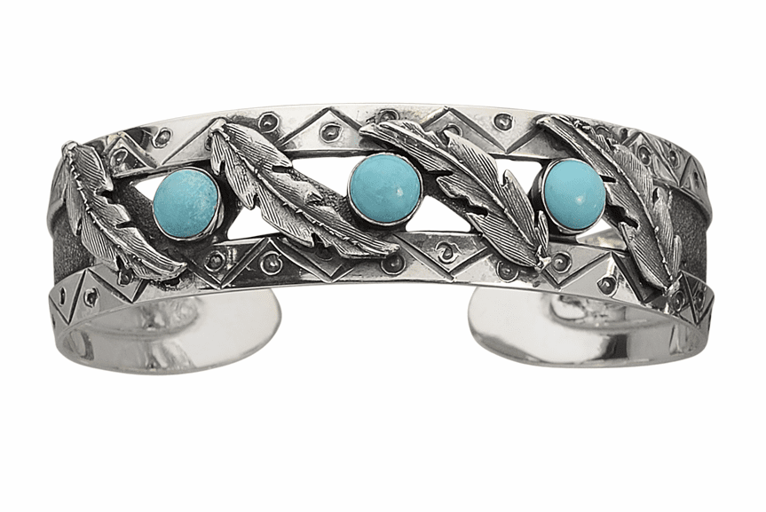 Vogt Sterling Feathers and Turquoise Cabochons Bracelet