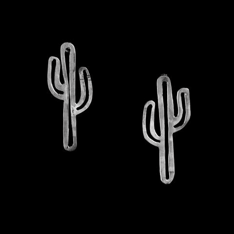 Vogt Sterling Hand Cut Cactus Post Earrings