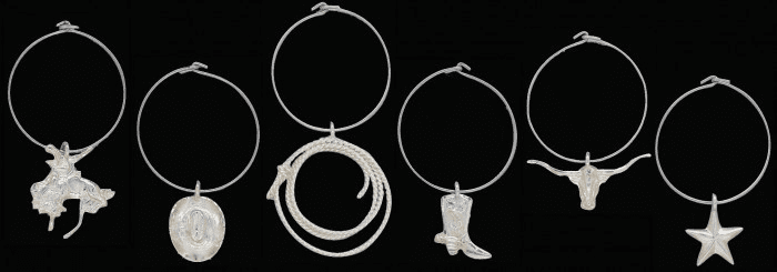 Vogt Western Silver Wine Charms