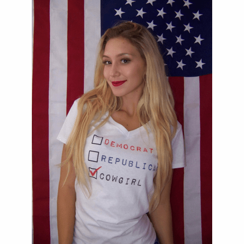 Vote Cowgirl Tee White