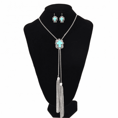 Western Bolo Cross TQ Necklace set