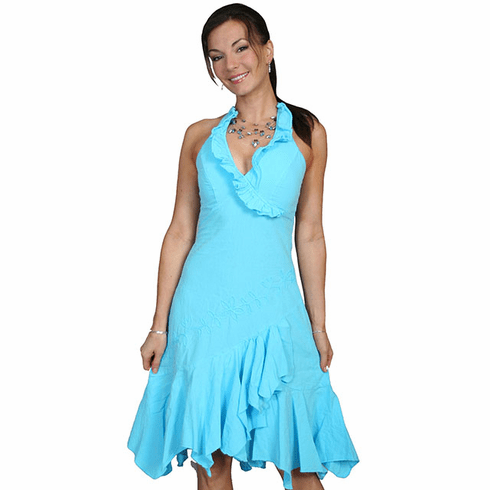 Western Collection Ruffled Embroidered Halter Cotton Dress Turq