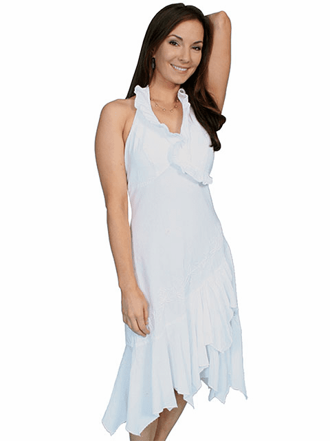 Western Collection Ruffled Embroidered Halter Cotton Dress White