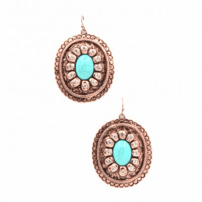 Western Concho Cooper Turquoise Earring