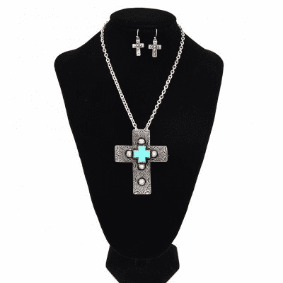 Western Cross Necklace Set-Silver