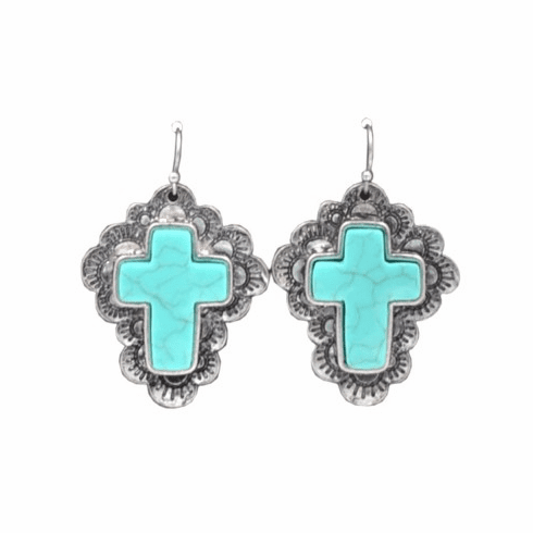 Western Cross Turquoise Earrings