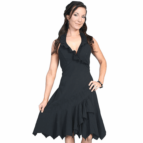 Western Ruffled Embroidered Halter Cotton Dress Blk