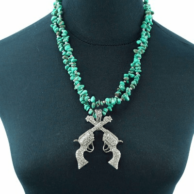 Western Two-String Turquoise Chips Necklace With Cross-gun Pendent