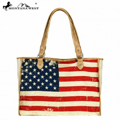 Wild West American Flag Painting Canvas Tote Bag**