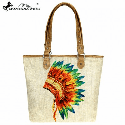 Wild West Native American Painting Canvas Tote Bag