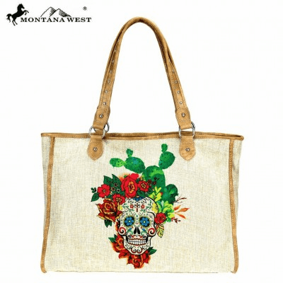 Wild West Sugar Skull Collection Canvas Tote Bag