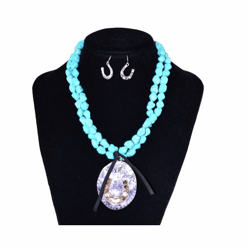 YEEHAW Beads Necklace Set-Silver/Turquoise