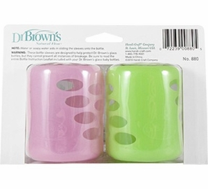Dr. Brown's Glass Bottle Sleeve, 4oz Pink/Green
