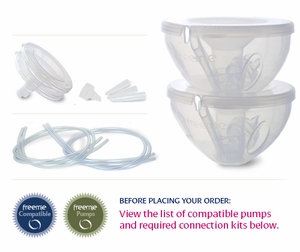 Freemie Collection Cups Deluxe Set: Medela, Hygeia Pumps