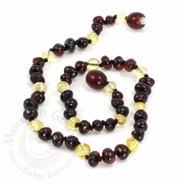 Momma Goose Amber Teething Necklace, Baroque Cherry & Lemon