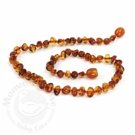 Momma Goose Amber Teething Necklace, Baroque Cognac
