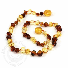 Momma Goose Amber Teething Necklace, Baroque Cognac & Lemon