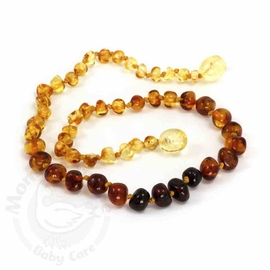 Momma Goose Amber Teething Necklace, Baroque Rainbow