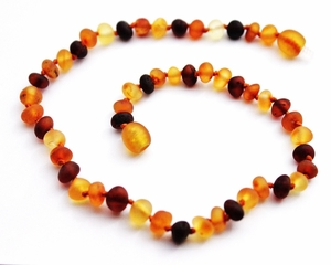 Momma Goose Amber Teething Necklace, Baroque Unpolished Multi