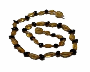 Momma Goose Amber Teething Necklace, Olive Cherry & Lemon