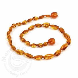 Momma Goose Amber Teething Necklace, Olive Cognac
