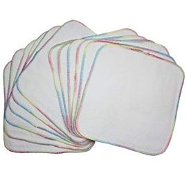 OsoCozy Terry Flannel Wipes White Bleached, 12 Pack