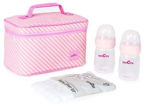 Spectra Pink Cooler with Ice Pack and Bottles