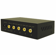 1 In 4 Out 1x4 Composite Video Splitter - Rack Mount Ready