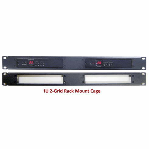 1U 2-Grid Rack Mount Cage For RF Coax To HDMI Demodulators