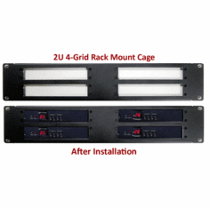 2U 4-Grid Rack Mount Cage For RF Coax To HDMI Demodulators