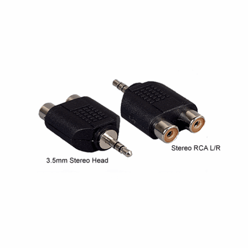 3.5mm Stereo Mini To 2 RCA Phono Female Audio Adapter