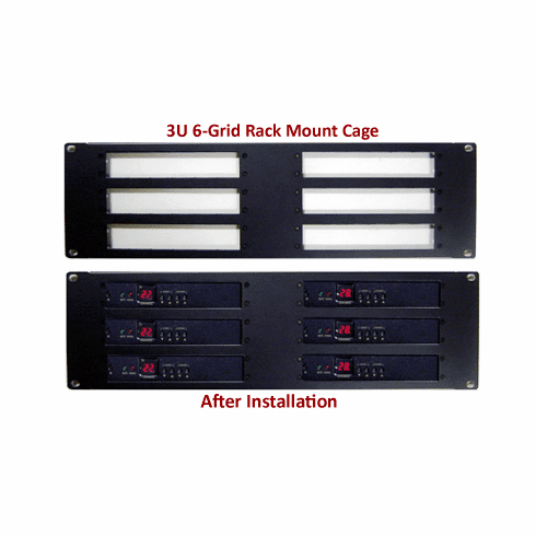 3U 6-Grid Rack Mount Cage For RF Coax To HDMI Demodulators