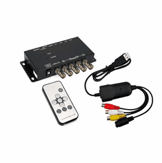 4-Channel Mini Quad Video Multiplexer With USB DVR Adapter And IR Remote