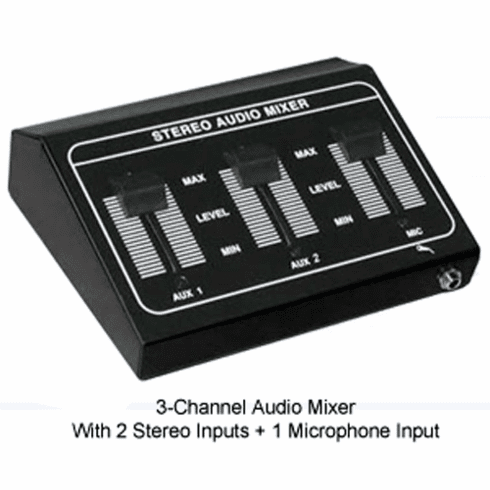 Audio Mixer With 2 Stereo Inputs + 1 Microphone Input