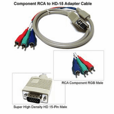 Component RGB Video 3 RCA To D-sub 15-Pin VGA Video Adapter Cable