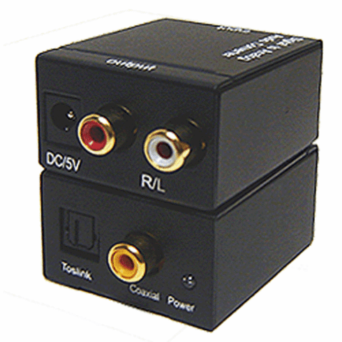 Digital Optical Coaxial S/PDIF To Stereo RCA Audio DAC Converter