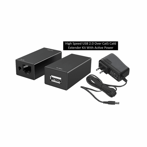 High Speed USB 2.0 Over Cat5E Cat6 Extender Kit With Active Power