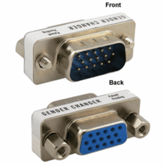VGA D-sub 15 Pin Male to Female Gender Changer Port Saver