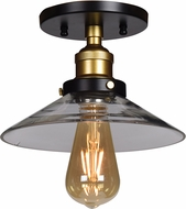 Access 24001LEDDLP-BGL-CLR The District Modern Black and Gold LED Flush Lighting