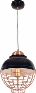 Access 24881LEDDLP-SBL-CP Dive Modern Shiny Black and Copper LED Mini Ceiling Light Pendant