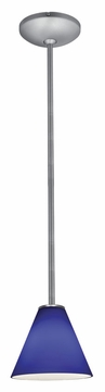 Access 28004-1R-BS-COB Janine�Cobalt Glass Brushed Steel 14 Inch Tall Rod Mini Pendant Lamp
