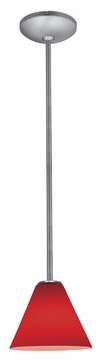 Access 28004-1R-BS-RED Janine�14 Inch Tall Brushed Steel Rod Red Glass Hanging Lamp