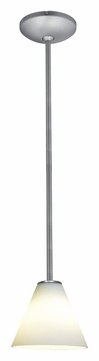 Access 28004-1R-BS-WHT Janine�Brushed Steel Rod 6 Inch Diameter White Glass Mini Hanging Light