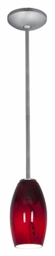 Access 28011-1R-BS-RUSKY Janine Ruby Sky Glass Brushed Steel Mini Hanging Light - Rod