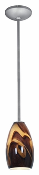 Access 28012-1R-BS/ICA Janine�Inca Glass 16 Inch Tall Brushed Steel Rod Pendant Lighting