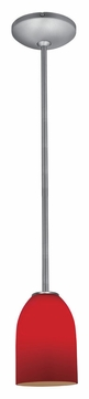 Access 28012-1R-BS/RED Janine�Red Glass Rod Hanging Brushed Steel Mini Pendant Lamp