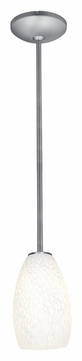 Access 28012-1R-BS/WHST Janine�White Stone 9 Inch Diameter Brushed Steel Lighting Pendant - Rod